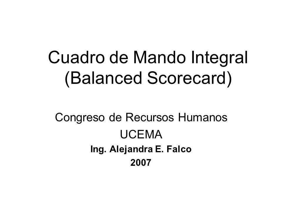 Cuadro de Mando Integral (Balanced Scorecard) Congreso de Recursos Humanos UCEMA Ing. Alejandra E. Falco 2007