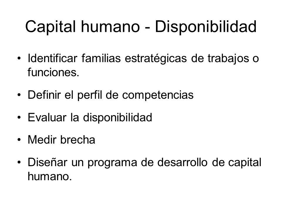 Capital humano - Disponibilidad Identificar familias estratégicas de trabajos o funciones. Definir el perfil de competencias Evaluar la disponibilidad