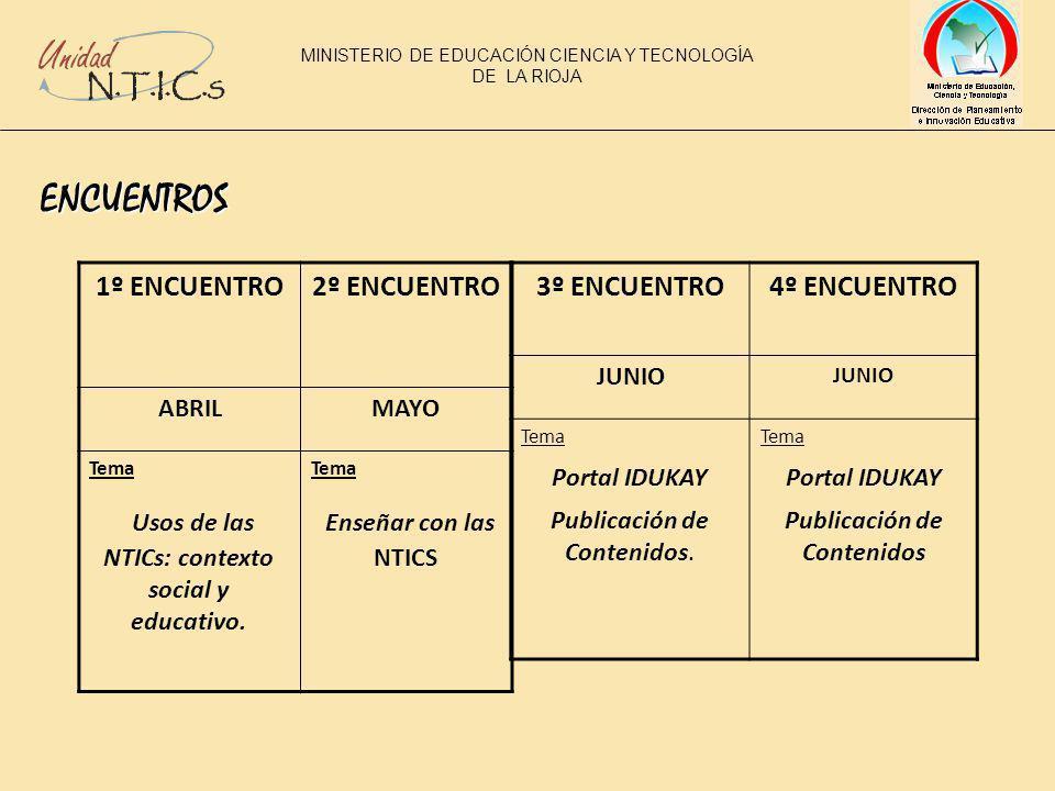 ENCUENTROS 1º ENCUENTRO2º ENCUENTRO ABRILMAYO Tema Usos de las NTICs: contexto social y educativo.
