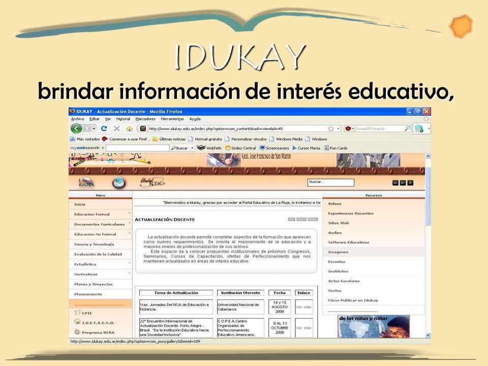 IDUKAY brindar información de interés educativo, brindar información de interés educativo,