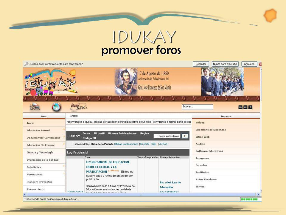 promover foros promover foros IDUKAY