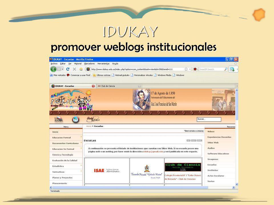 promover weblogs institucionales IDUKAY