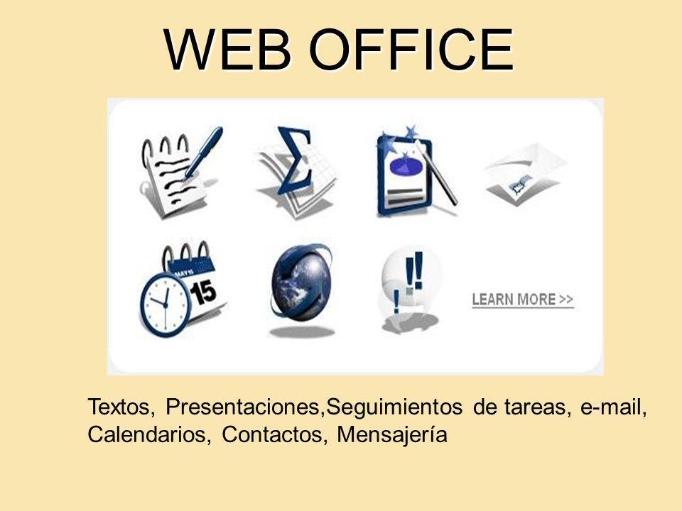 WEB OFFICE Textos, Presentaciones,Seguimientos de tareas, e-mail, Calendarios, Contactos, Mensajería