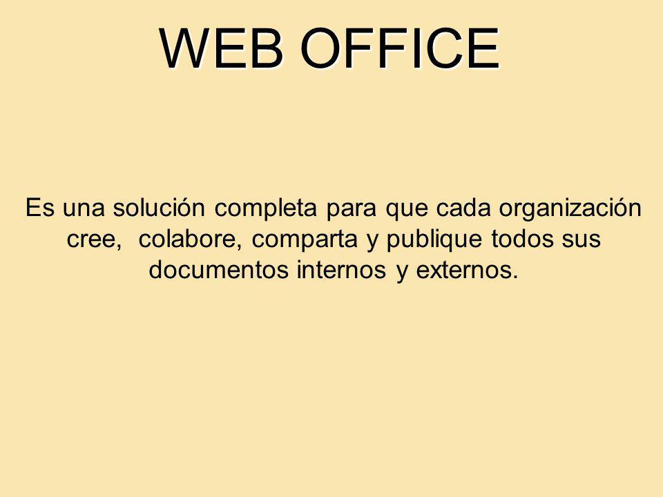 WEB OFFICE Es una solución completa para que cada organización cree, colabore, comparta y publique todos sus documentos internos y externos.