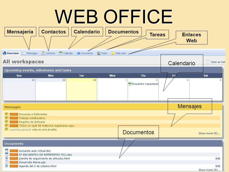 WEB OFFICE Calendario Mensajes Documentos MensajeríaContactosCalendarioDocumentos Tareas Enlaces Web