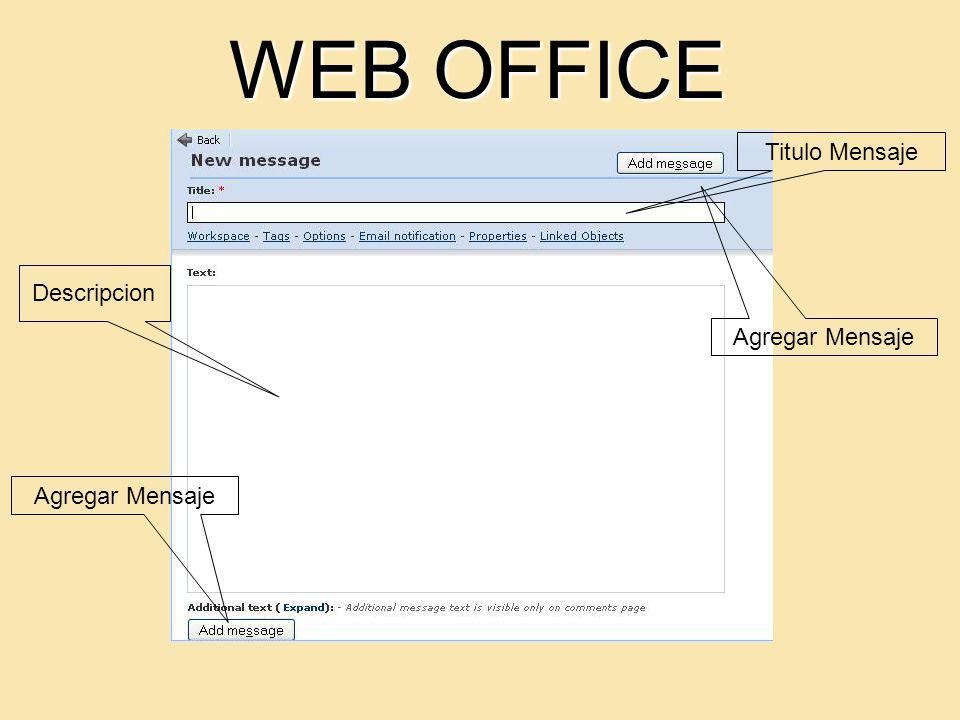 WEB OFFICE Titulo Mensaje Descripcion Agregar Mensaje