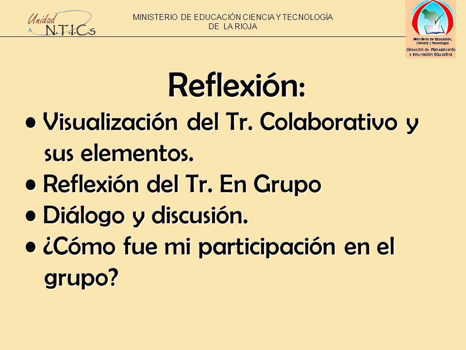 Reflexión: Visualización del Tr. Colaborativo y Visualización del Tr.