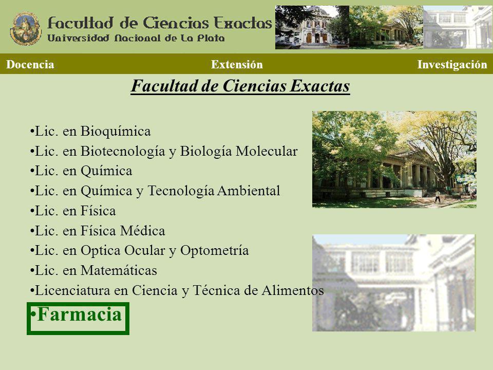 Facultad de Ciencias Exactas Lic. en Bioquímica Lic. en Biotecnología y Biología Molecular Lic. en Química Lic. en Química y Tecnología Ambiental Lic.
