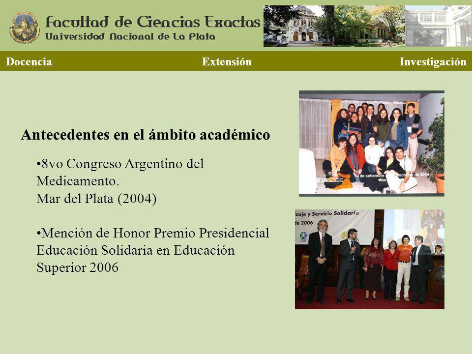 Antecedentes en el ámbito académico 8vo Congreso Argentino del Medicamento. Mar del Plata (2004) Mención de Honor Premio Presidencial Educación Solida