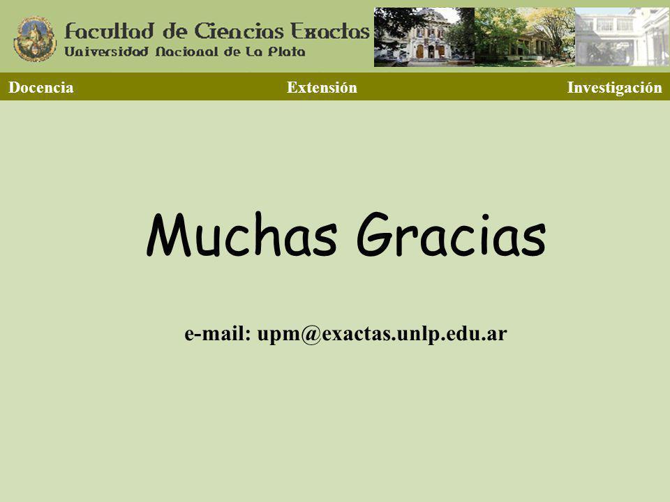 Docencia Extensión Investigación Muchas Gracias e-mail: upm@exactas.unlp.edu.ar