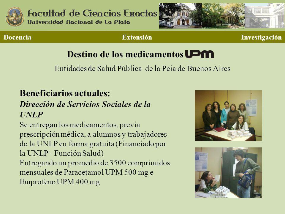 Destino de los medicamentos Docencia Extensión Investigación Entidades de Salud Pública de la Pcia de Buenos Aires Beneficiarios actuales: Dirección d