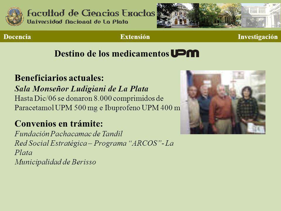 Destino de los medicamentos Docencia Extensión Investigación Beneficiarios actuales: Sala Monseñor Ludigiani de La Plata Hasta Dic/06 se donaron 8.000