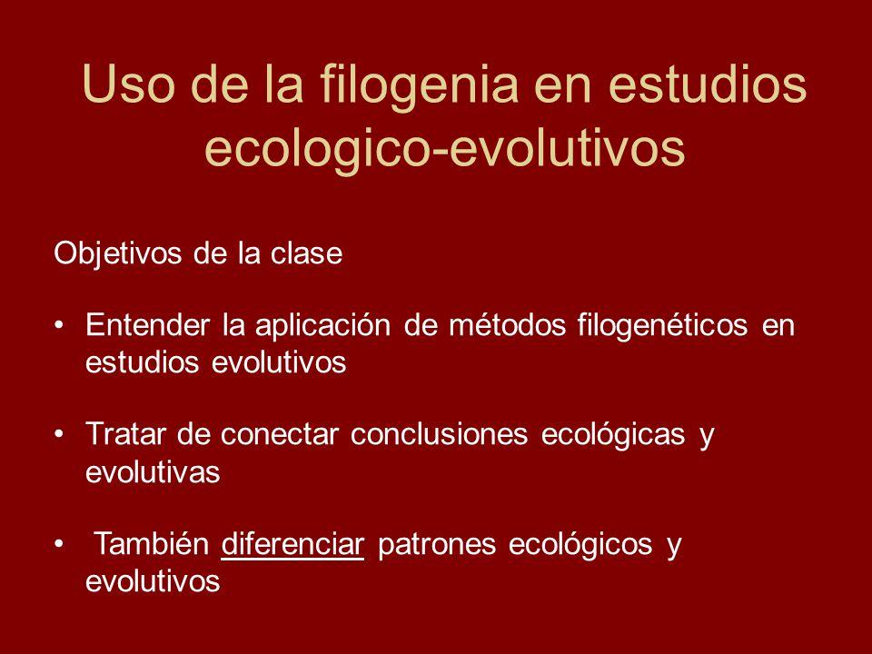Uso de la filogenia en estudios ecologico-evolutivos Objetivos de la clase Entender la aplicación de métodos filogenéticos en estudios evolutivos Trat