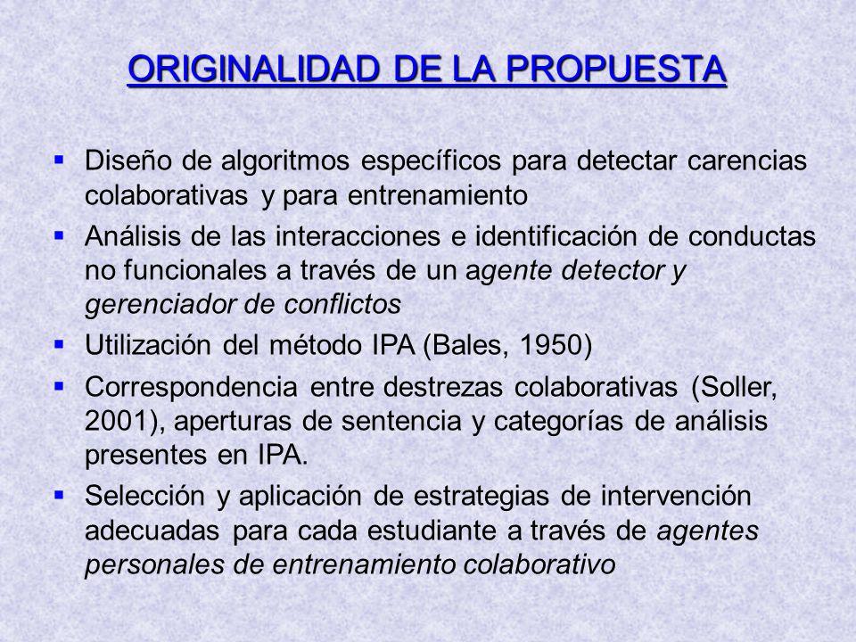Diseño de algoritmos específicos para detectar carencias colaborativas y para entrenamiento Análisis de las interacciones e identificación de conducta