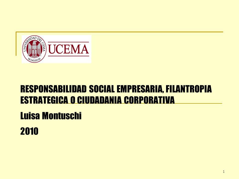 1 RESPONSABILIDAD SOCIAL EMPRESARIA, FILANTROPIA ESTRATEGICA O CIUDADANIA CORPORATIVA Luisa Montuschi 2010