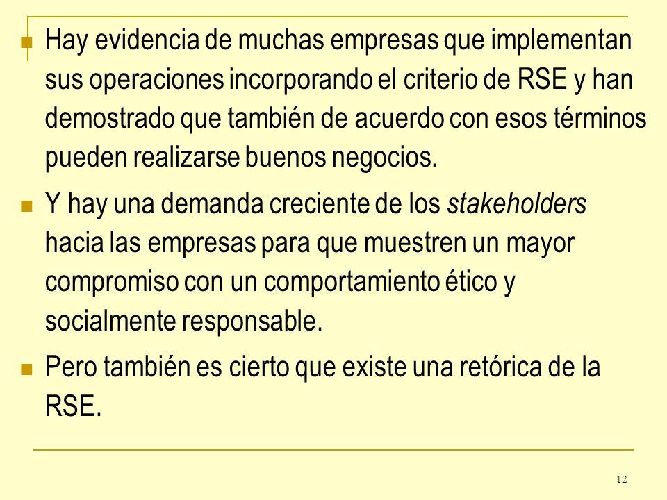 12 Hay evidencia de muchas empresas que implementan sus operaciones incorporando el criterio de RSE y han demostrado que también de acuerdo con esos t