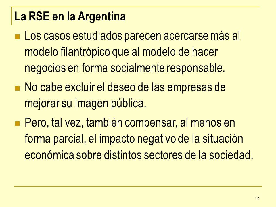 16 La RSE en la Argentina Los casos estudiados parecen acercarse más al modelo filantrópico que al modelo de hacer negocios en forma socialmente respo