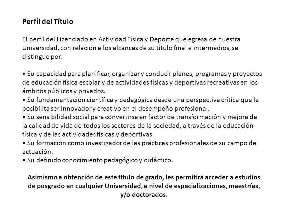Perfil del Título El perfil del Licenciado en Actividad Física y Deporte que egresa de nuestra Universidad, con relación a los alcances de su título f