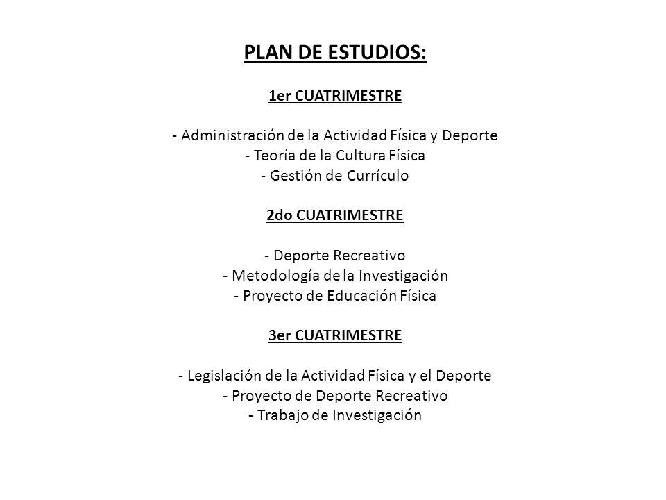 PLAN DE ESTUDIOS: 1er CUATRIMESTRE - Administración de la Actividad Física y Deporte - Teoría de la Cultura Física - Gestión de Currículo 2do CUATRIME