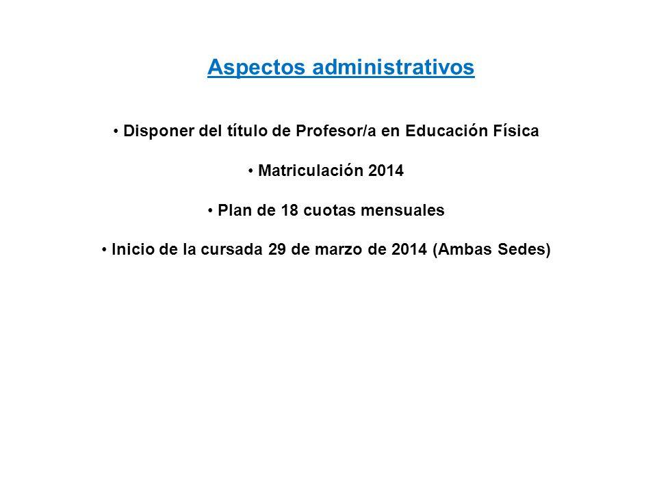 Disponer del título de Profesor/a en Educación Física Matriculación 2014 Plan de 18 cuotas mensuales Inicio de la cursada 29 de marzo de 2014 (Ambas S