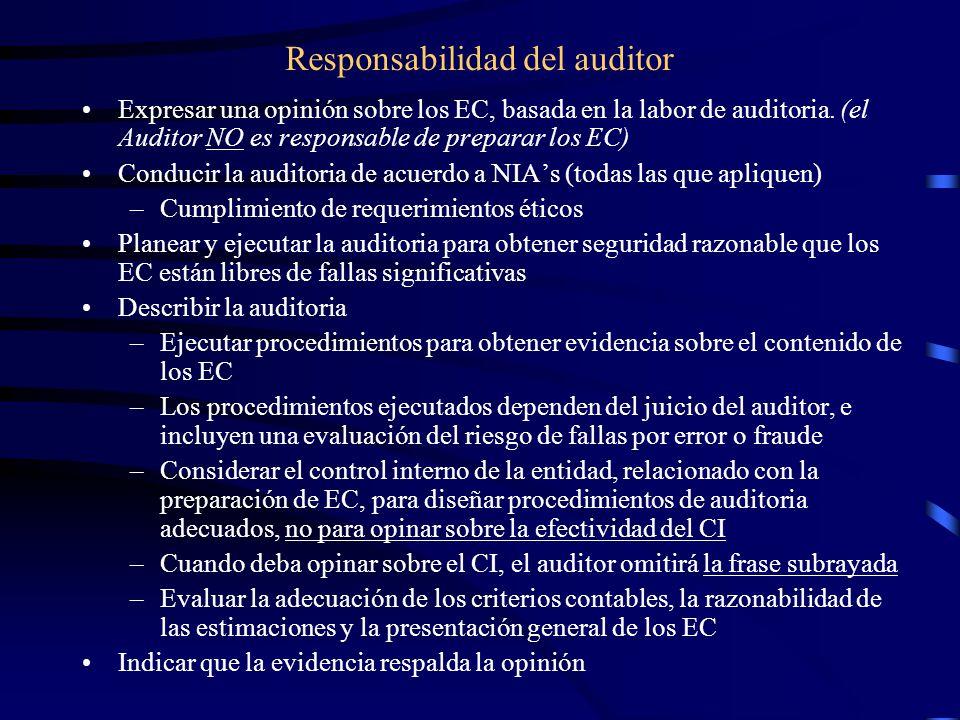 Responsabilidad del auditor Expresar una opinión sobre los EC, basada en la labor de auditoria.