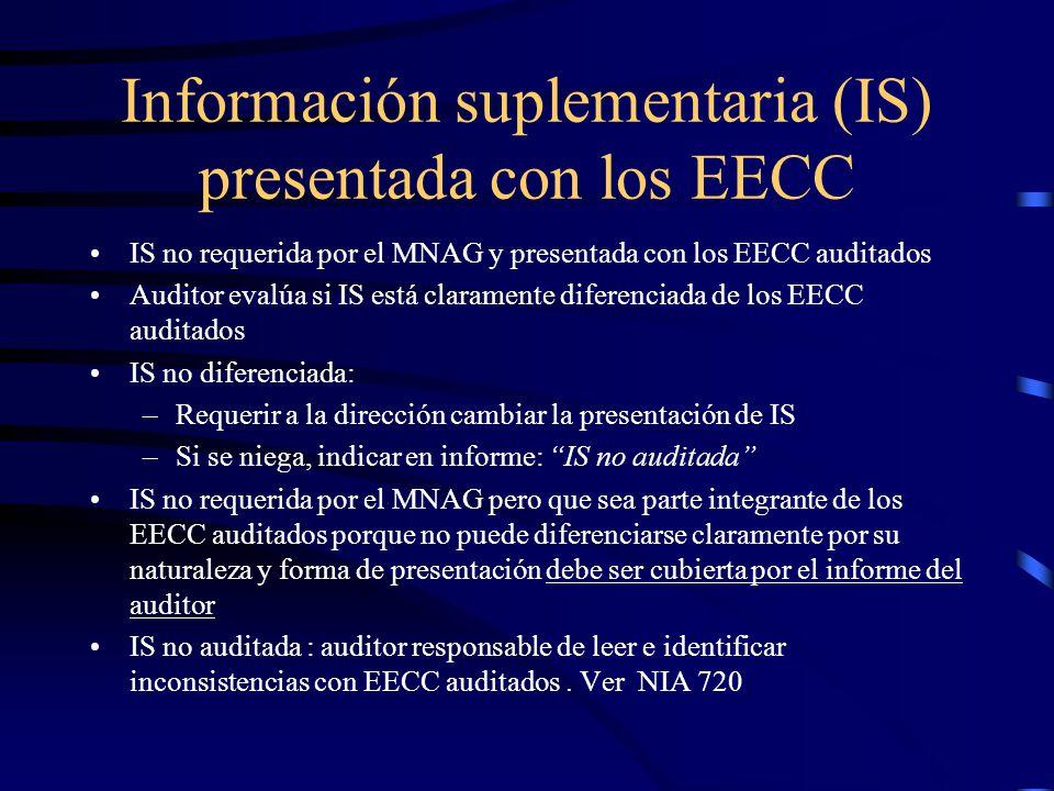 Información suplementaria (IS) presentada con los EECC IS no requerida por el MNAG y presentada con los EECC auditados Auditor evalúa si IS está claramente diferenciada de los EECC auditados IS no diferenciada: –Requerir a la dirección cambiar la presentación de IS –Si se niega, indicar en informe: IS no auditada IS no requerida por el MNAG pero que sea parte integrante de los EECC auditados porque no puede diferenciarse claramente por su naturaleza y forma de presentación debe ser cubierta por el informe del auditor IS no auditada : auditor responsable de leer e identificar inconsistencias con EECC auditados.