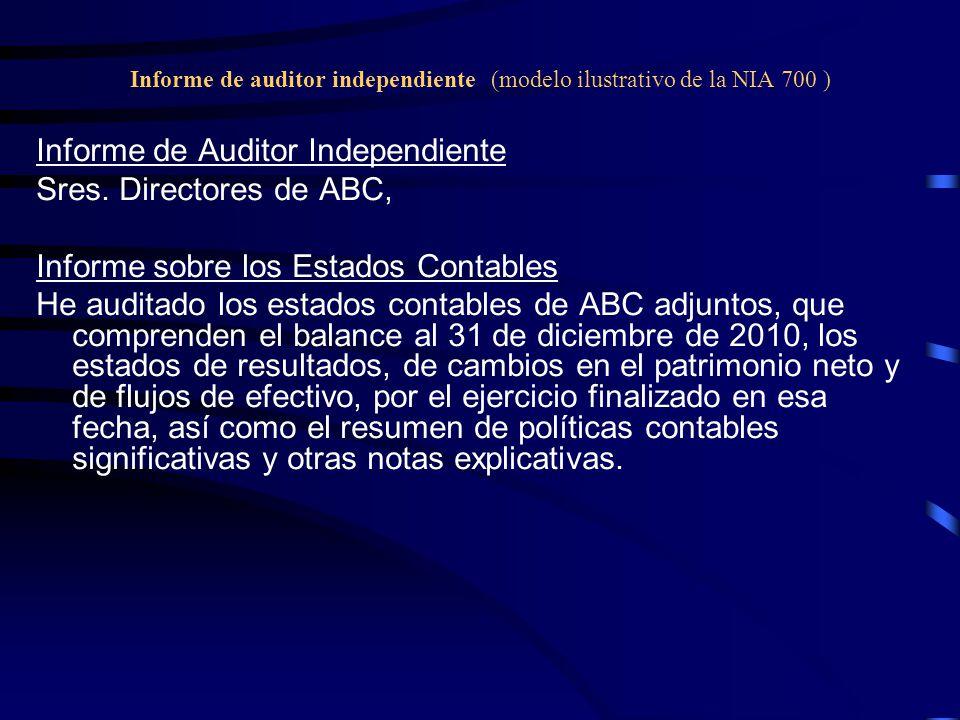 Informe de auditor independiente (modelo ilustrativo de la NIA 700 ) Informe de Auditor Independiente Sres.