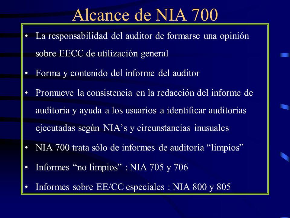 Opinión del auditor La opinión sin salvedades (limpia) se emite cuando el auditor concluye que los EC revelan de manera verdadera y razonable … o presentan razonablemente, en todos los aspectos materiales …la posición financiera y los resultados del ente, de acuerdo con el MN aplicable Si el MN no es NIIF se debe identificar el país de origen del MN : ….