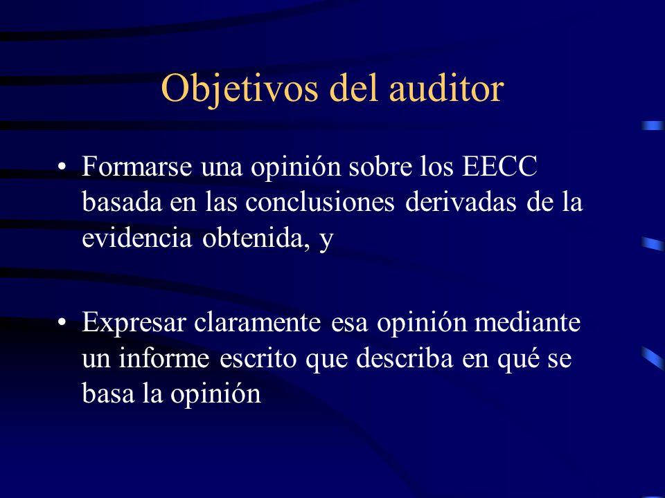 Definiciones EECC de utilización general : preparados de acuerdo a un marco normativo de aceptación general (MNAG) MNAG : conjunto de normas contables diseñado para las necesidades de información financiera de un gran número de usuarios (NCPs, PCGAs, etc) Opinión no modificada u opinión limpia : la emitida por el auditor cuando concluye que los EECC han sido preparados, en todos sus aspectos significativos, de acuerdo con el MNAG aplicable EECC : un juego completo de EECC de uso general, con sus notas y preparados según lo requerido por el MNAG aplicable