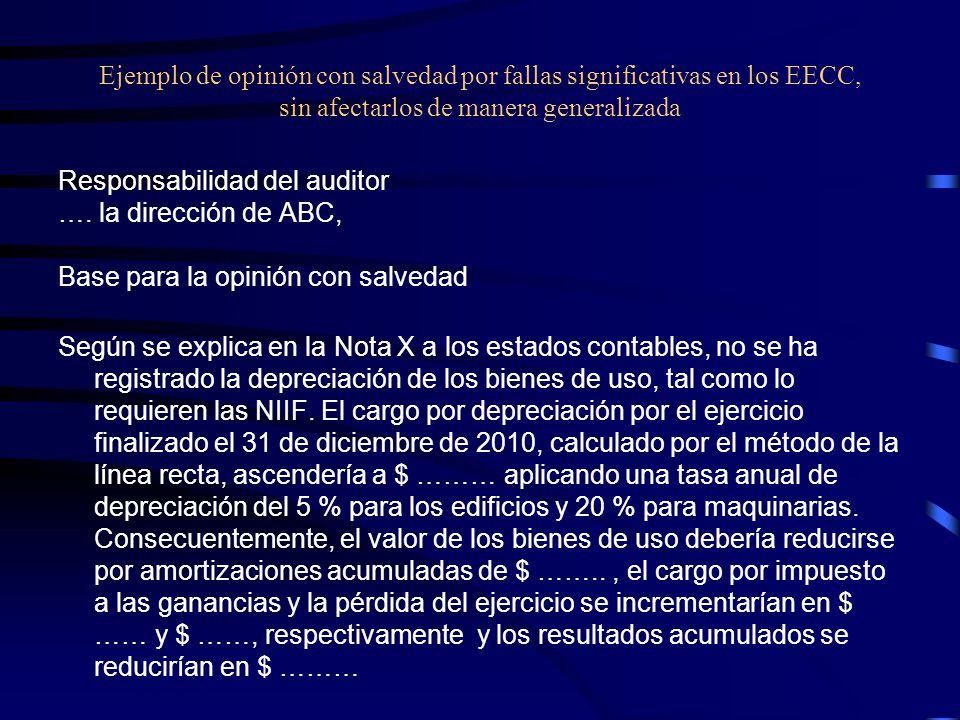Ejemplo de opinión con salvedad por fallas significativas en los EECC, sin afectarlos de manera generalizada Responsabilidad del auditor ….