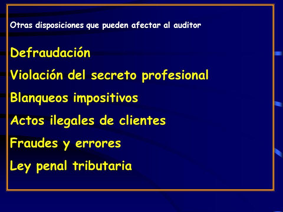 Otras disposiciones que pueden afectar al auditor Defraudación Violación del secreto profesional Blanqueos impositivos Actos ilegales de clientes Fraudes y errores Ley penal tributaria