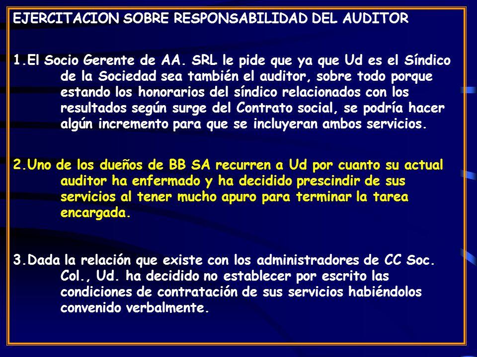 EJERCITACION SOBRE RESPONSABILIDAD DEL AUDITOR 1.El Socio Gerente de AA.