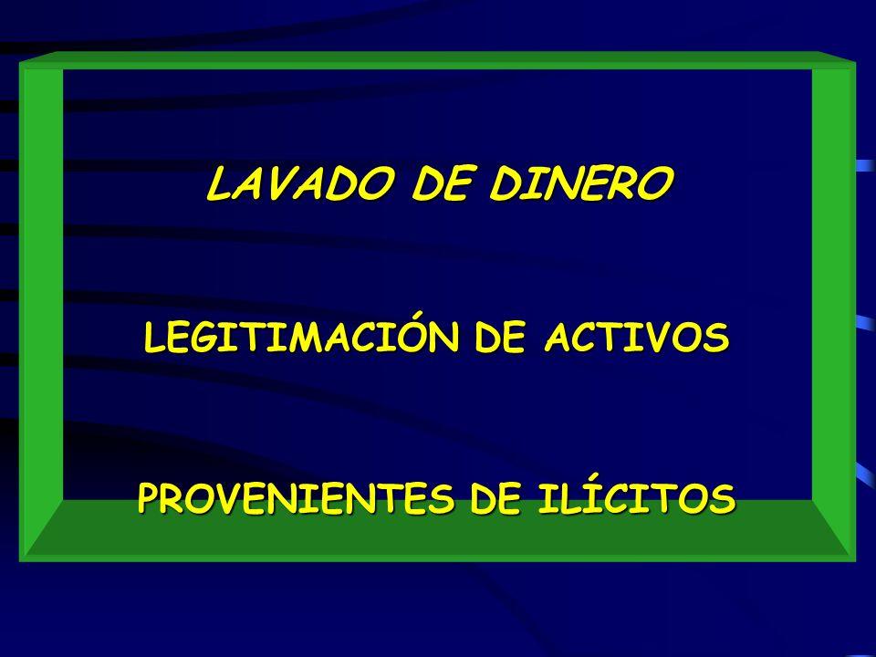 LAVADO DE DINERO LEGITIMACIÓN DE ACTIVOS PROVENIENTES DE ILÍCITOS