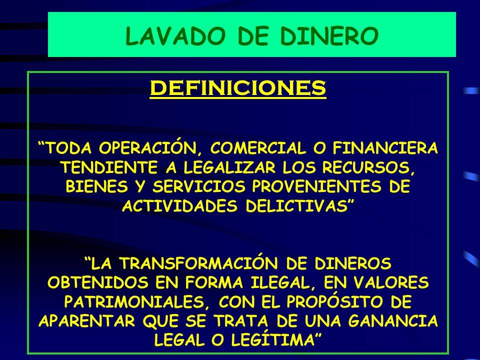 LAVADO DE DINERO DEFINICIONES TODA OPERACIÓN, COMERCIAL O FINANCIERA TENDIENTE A LEGALIZAR LOS RECURSOS, BIENES Y SERVICIOS PROVENIENTES DE ACTIVIDADES DELICTIVAS LA TRANSFORMACIÓN DE DINEROS OBTENIDOS EN FORMA ILEGAL, EN VALORES PATRIMONIALES, CON EL PROPÓSITO DE APARENTAR QUE SE TRATA DE UNA GANANCIA LEGAL O LEGÍTIMA