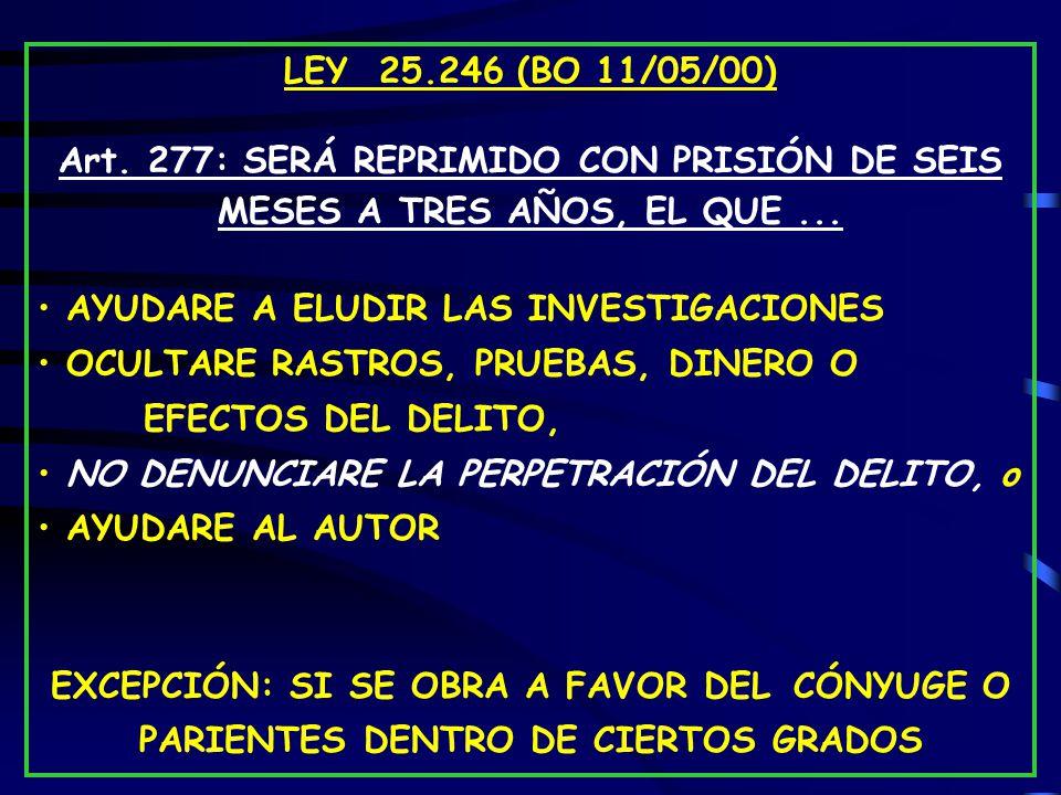 LEY 25.246 (BO 11/05/00) Art.277: SERÁ REPRIMIDO CON PRISIÓN DE SEIS MESES A TRES AÑOS, EL QUE...