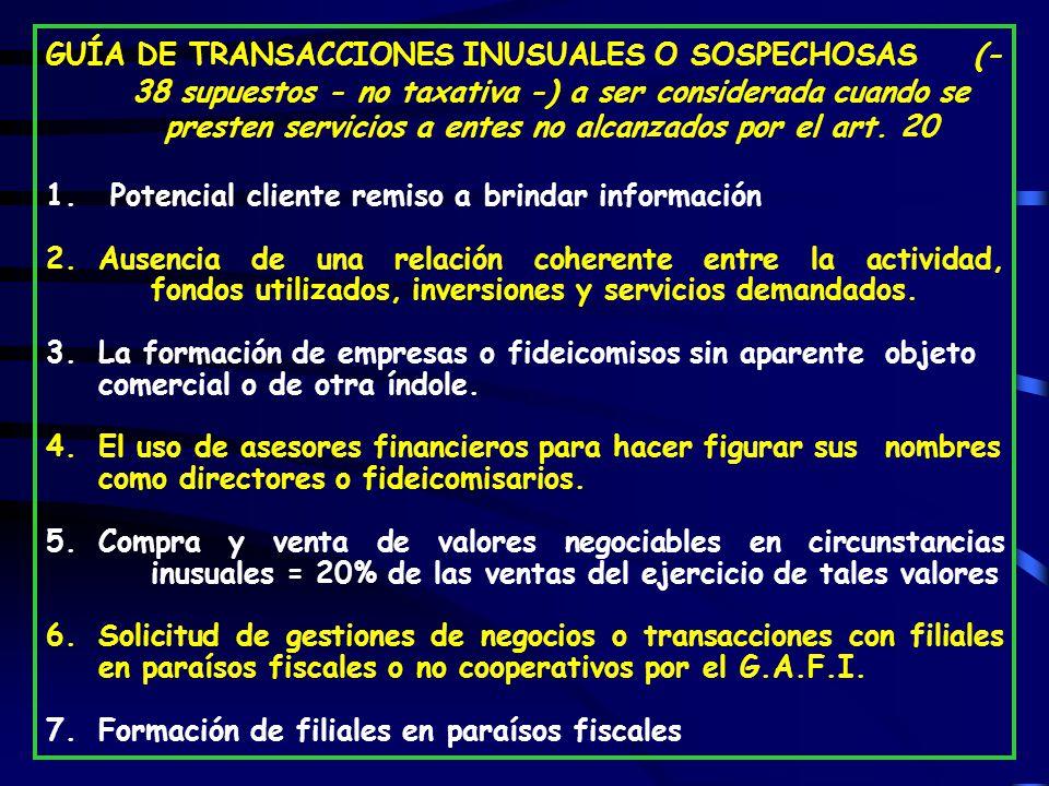 GUÍA DE TRANSACCIONES INUSUALES O SOSPECHOSAS (- 38 supuestos - no taxativa -) a ser considerada cuando se presten servicios a entes no alcanzados por el art.