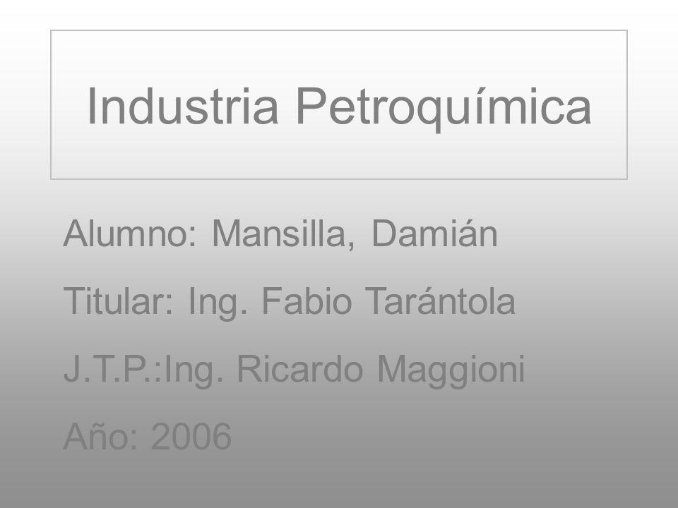 Industria Petroquímica Alumno: Mansilla, Damián Titular: Ing. Fabio Tarántola J.T.P.:Ing. Ricardo Maggioni Año: 2006