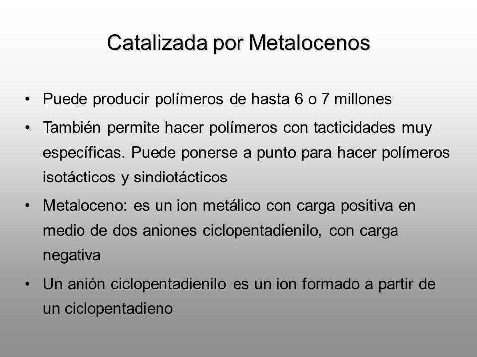 Puede producir polímeros de hasta 6 o 7 millones También permite hacer polímeros con tacticidades muy específicas. Puede ponerse a punto para hacer po