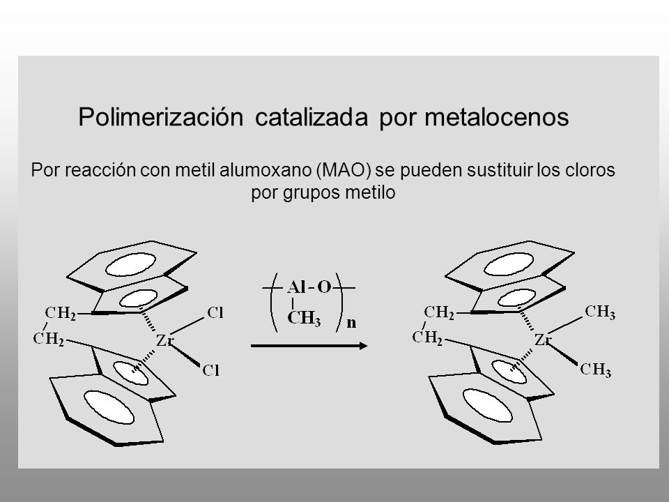 Polimerización catalizada por metalocenos Por reacción con metil alumoxano (MAO) se pueden sustituir los cloros por grupos metilo