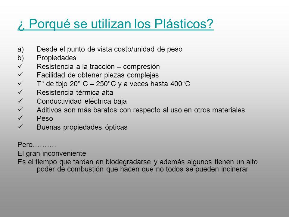 ¿ Porqué se utilizan los Plásticos? a)Desde el punto de vista costo/unidad de peso b)Propiedades Resistencia a la tracción – compresión Facilidad de o