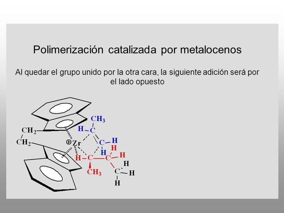 Polimerización catalizada por metalocenos Al quedar el grupo unido por la otra cara, la siguiente adición será por el lado opuesto