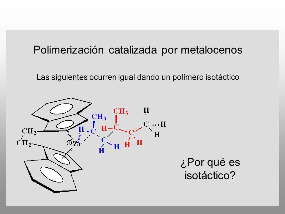 Polimerización catalizada por metalocenos Las siguientes ocurren igual dando un polímero isotáctico ¿Por qué es isotáctico?