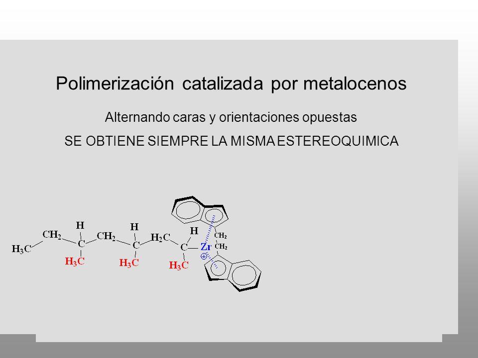 Polimerización catalizada por metalocenos Alternando caras y orientaciones opuestas SE OBTIENE SIEMPRE LA MISMA ESTEREOQUIMICA