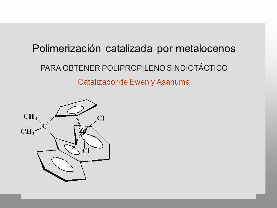 Polimerización catalizada por metalocenos PARA OBTENER POLIPROPILENO SINDIOTÁCTICO Catalizador de Ewen y Asanuma