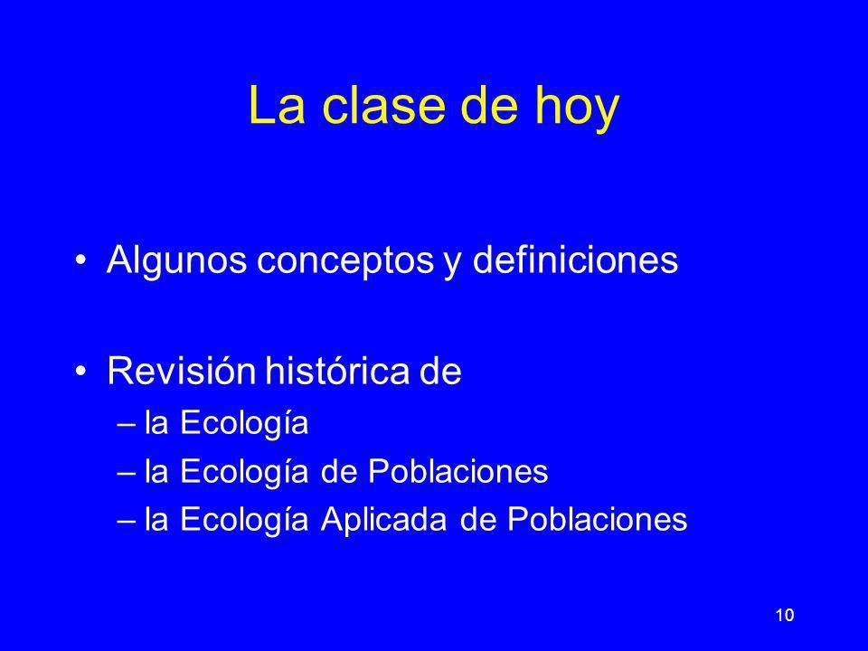 10 La clase de hoy Algunos conceptos y definiciones Revisión histórica de –la Ecología –la Ecología de Poblaciones –la Ecología Aplicada de Poblacione