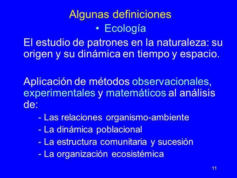 11 Algunas definiciones Ecología El estudio de patrones en la naturaleza: su origen y su dinámica en tiempo y espacio. Aplicación de métodos observaci