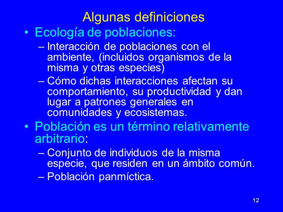 12 Algunas definiciones Ecología de poblaciones: –Interacción de poblaciones con el ambiente, (incluidos organismos de la misma y otras especies) –Cóm