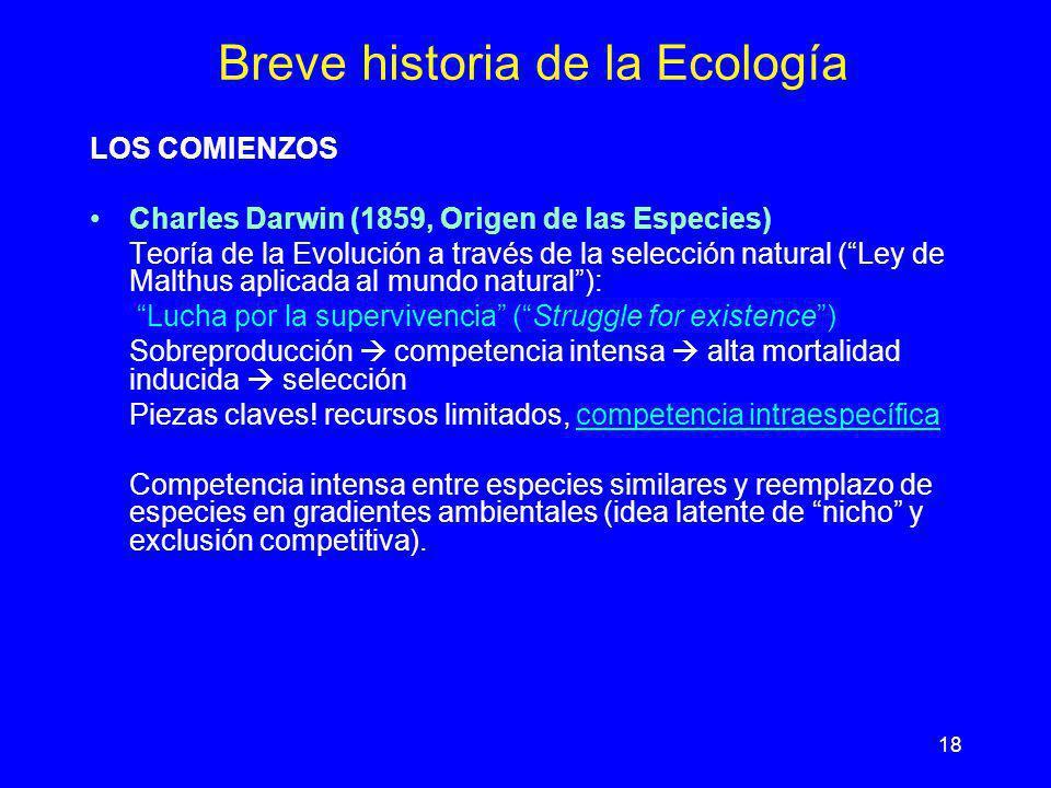 18 Breve historia de la Ecología LOS COMIENZOS Charles Darwin (1859, Origen de las Especies) Teoría de la Evolución a través de la selección natural (