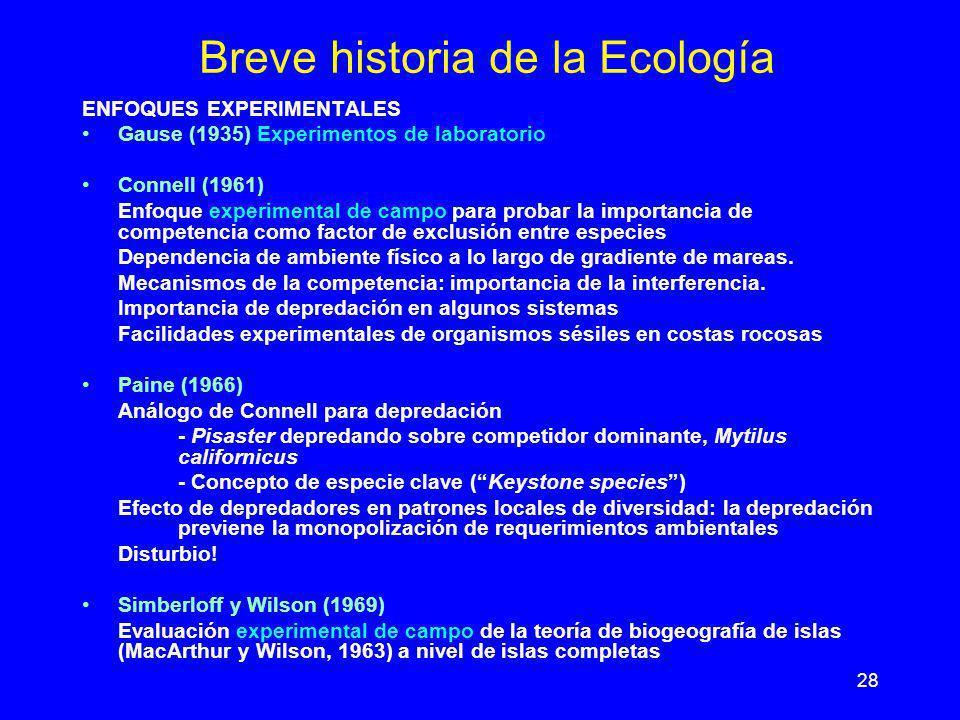 28 Breve historia de la Ecología ENFOQUES EXPERIMENTALES Gause (1935) Experimentos de laboratorio Connell (1961) Enfoque experimental de campo para pr