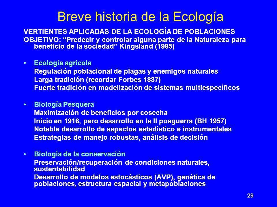 29 Breve historia de la Ecología VERTIENTES APLICADAS DE LA ECOLOGÍA DE POBLACIONES OBJETIVO: Predecir y controlar alguna parte de la Naturaleza para
